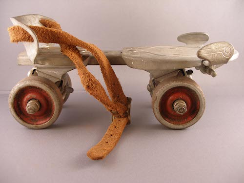Photo of a vintage metal rollerskate